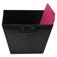 "Steel File and Storage Bin, Letter Files, 12.13"" x 11.25"" x 7.38"", Black"