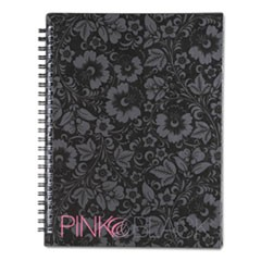 Notebook, Narrow Rule, Black/Pink/Floral Cover, 8.25 x 6.25, 70 Pages