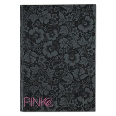 Notebook, Medium/College Rule, Black/Pink/Floral Cover, 11.68 x 8.25, 96 Pages