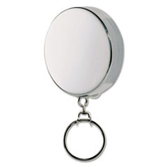 "Key Reel with 24"" Retractable Chain, 2"" Dia., Nickel, Silver"