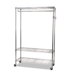 Wire Shelving Garment Rack, Coat Rack, Stand Alone Rack w/Casters, Silver