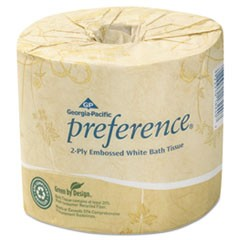 Embossed 2-Ply Bathroom Tissue, Septic Safe, White, 550 Sheet/Roll, 80 Rolls/Carton