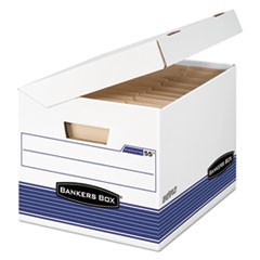 SYSTEMATIC Medium-Duty Strength Storage Boxes, Letter/Legal Files, White/Blue, 12/Carton