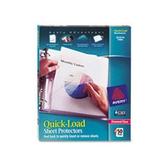Quick Top and Side Loading Sheet Protectors, Letter, Diamond Clear, 50/Box