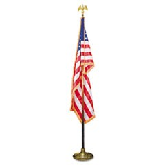 "1Deluxe 3 ft x 5 ft U.S. Flag, 8 ft Oak Staff, 2"" Gold Fringe, 7"" Goldtone Eagle"