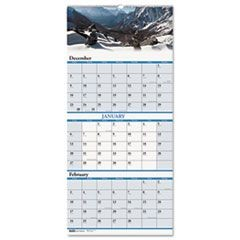 Scenic Landscapes Three-Months/Page Wall Calendar, 12-1/4 x 26, 2015-2016