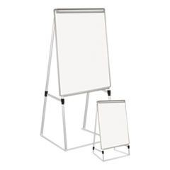 "Silver Easy Clean Dry Erase Quad-Pod Presentation Easel, 45"" to 79"", Silver"