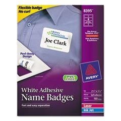 Flexible Self-Adhesive Laser/Inkjet Name Badge Labels, 2 1/3 x 3 3/8, WE, 160/PK