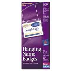 Neck Hang Badge Holder w/Laser/Inkjet Insert, Top Load, 3 x 4, White, 50/BX
