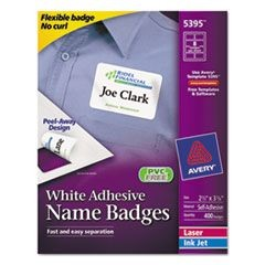 Flexible Self-Adhesive Laser/Inkjet Name Badge Labels, 2 1/3 x 3 3/8, WE, 400/BX