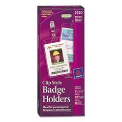 Secure Top Clip-Style Badge Holders, Vertical, 2 1/4 x 3 1/2, Clear, 50/Box