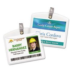 Secure Top Clip-Style Badge Holders, Horizontal, 4 x 3, Clear, 100/Box