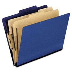 Six-Section Colored Classification Folders, 2 Dividers, Letter Size, Blue, 10/Box