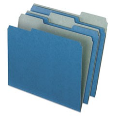 Earthwise Recycled Colored File Folders, 1/3 Cut Top Tab, Letter, Blue, 100/Box