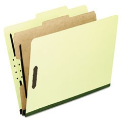 Four-, Six-, and Eight-Section Pressboard Classification Folders, 1 Divider, Embedded Fasteners, Letter, Light Green, 10/Box