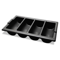 Four-Compartment Cutlery Bin, 22 x 12 x 4, Black