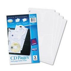 1Two-Sided CD Organizer Sheets for Three-Ring Binder, 5/Pack