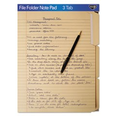 File Folder Note Pad, 1/3-Cut Tabs, Letter Size, Manila