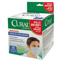 Antiviral Medical Face Mask, Pleated, 10/Box