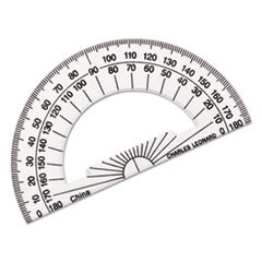 "Open Center Protractor, Plastic, 4"" Base, Clear, Dozen"