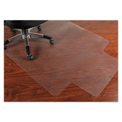PVC Chair Mat for Hard Floors, 45 x 53, 12 x 25 Lip, Clear