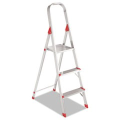 #566 Three-Step Folding Aluminum Euro Platform Ladder, Aluminum/Red