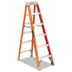 FS1500 Series Fiberglass Step Ladder, 6 ft, 5-Step, Red
