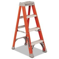 FS1500 Series Fiberglass Step Ladder, 4 ft, 5-Step, Red