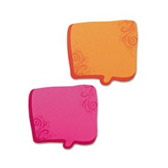 Thought Bubble Notes, 2 3/4 x 2 3/4, Neon Orange/Magenta, 75-Sheet Pads, 2/Set