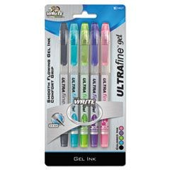 Ultra Fine Gel Ink Rollerball Pen, 0.5mm, Assorted, 5/Set