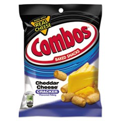 Combos Baked Snacks, 6.3 oz Bag, Cheddar Cheese Cracker, 12/Carton