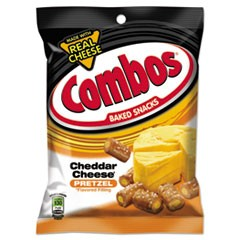 Combos Baked Snacks, 6.3 oz Bag, Cheddar Cheese Pretzel, 12/Carton