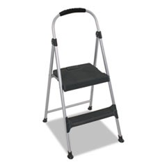 "Aluminum Step Stool, 2-Step, 225lb, 18 9/10"" Working Height, Platinum/Black"