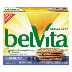 belVita Breakfast Biscuits, 1.76 oz Pack, Blueberry, 64/Carton