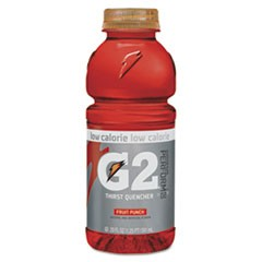 G2 Perform 02 Low-Calorie Thirst Quencher, Fruit Punch, 20 oz Bottle, 24/Carton