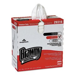 "Brawny Industrial Lightweight Shop Towel, 9 1/10"" x 12 1/2"", White, 2000/Carton"