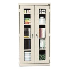 Assembled Clear View Storage Cabinet, 36w x 24d x 78h, Putty
