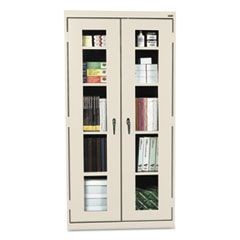 Assembled Clear View Storage Cabinet, 36w x 18d x 72h, Putty