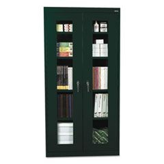 Assembled Clear View Storage Cabinet, 36w x 18d x 72h, Forest Green