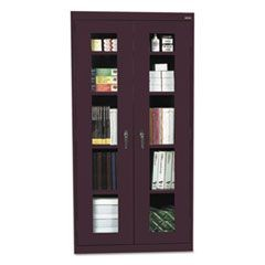 Assembled Clear View Storage Cabinet, 36w x 24d x 78h, Burgundy