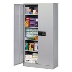 Quick-Assemble Electronic Lock Cabinet, 36w x 18d x 72h, Light Gray