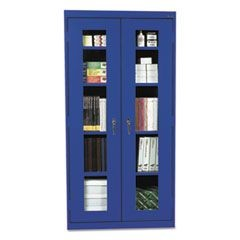 Assembled Clear View Storage Cabinet, 36w x 24d x 78h, Blue