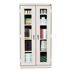 Assembled Clear View Storage Cabinet, 36w x 24d x 78h, Light Gray