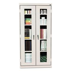 Assembled Clear View Storage Cabinet, 36w x 18d x 72h, Light Gray