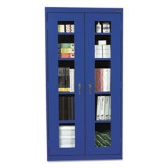 Assembled Clear View Storage Cabinet, 36w x 18d x 72h, Blue