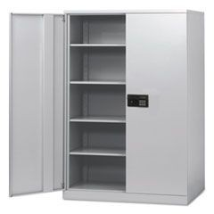 Quick-Assemble Electronic Lock Cabinet, 48w x 24d x 78h, Light Gray