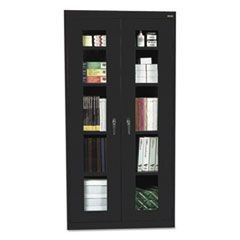 Assembled Clear View Storage Cabinet, 36w x 24d x 78h, Black