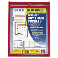 Reusable Dry Erase Pockets, 6 x 9, Assorted Primary Colors, 10/Pack