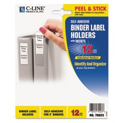 Self-Adhesive Ring Binder Label Holders, Top Load, 2 1/4 x 3 1/16, Clear, 12/PK