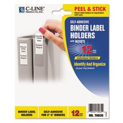 Self-Adhesive Ring Binder Label Holders, Top Load, 2 3/4 x 3 5/8, Clear, 12/Pack